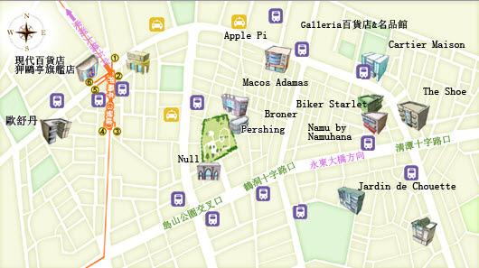 位於首尔市江南区,各类大中型名牌专卖店栉次鳞比